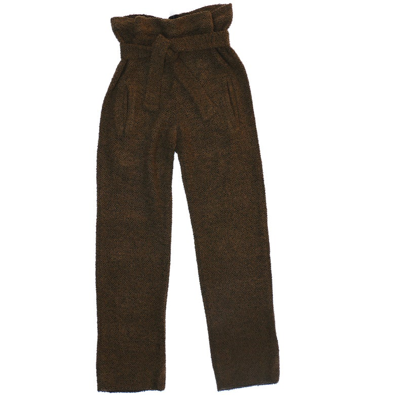 Image of COZY'BAE OVERSIZED SACK WAIST TROUSERS- OLIVE/BROWN