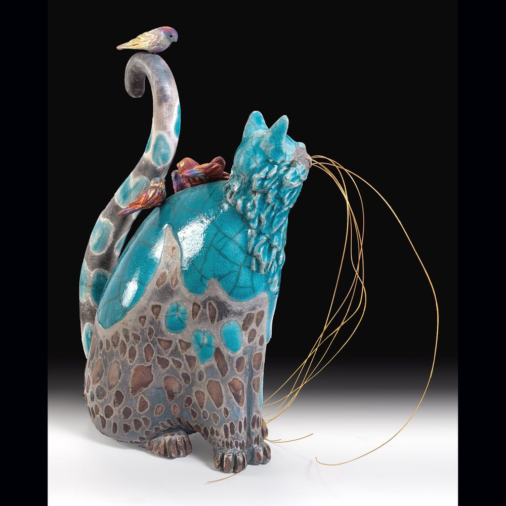 Image of Ceramic Cat Sculpture - Turquoise Tinna and Tweets