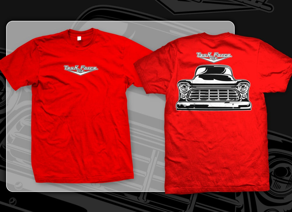 Image of Red 55-56 Chevrolet Truck Front End T-shirts