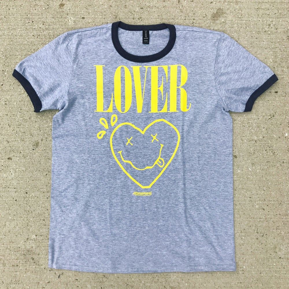 """Image of The """"Lover"""" Ringer Tee in Gray/Charcoal"""