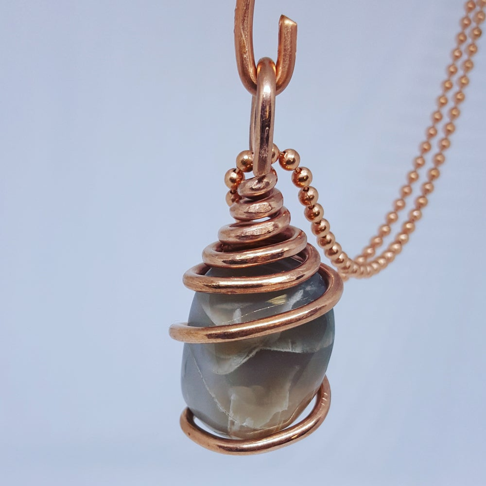 Image of Copper Wrapped Black Moonstone Necklace