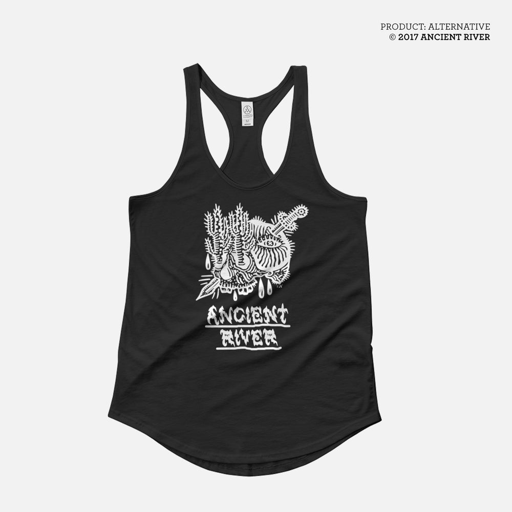 Image of Skull + Knife Ladies Tank Top Black