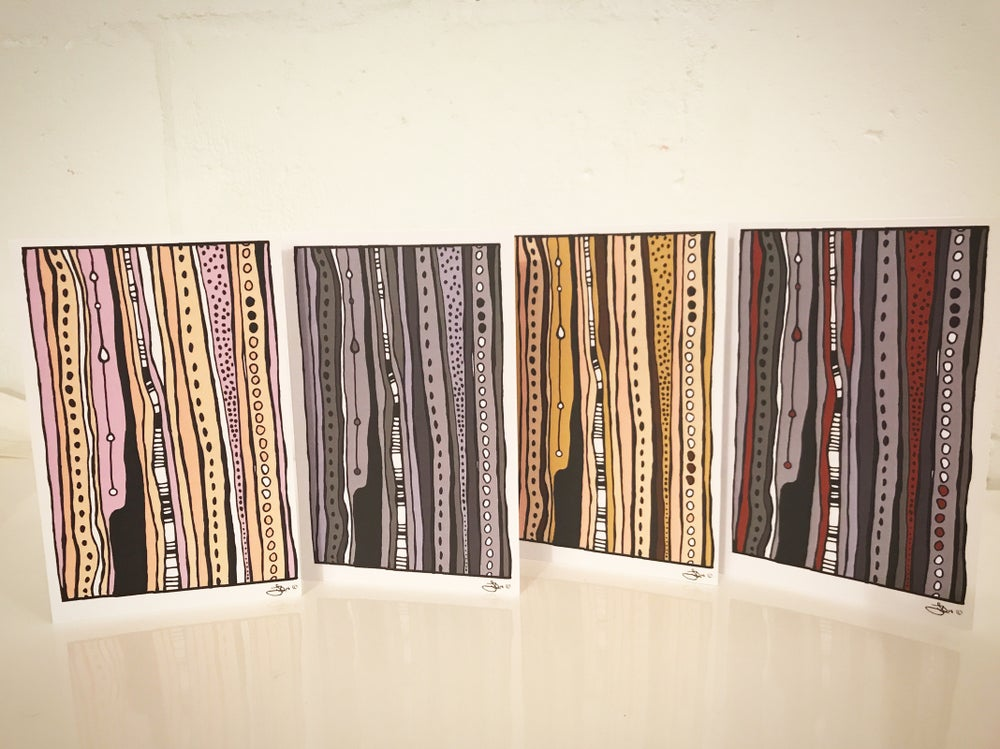 Image of 4 pack of Linear Art Cards, artwork by Jessica Birk