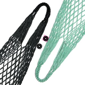 Image of SHOPPING NETBAG<br>ECO MESH BAG<br>BLACK&MINT