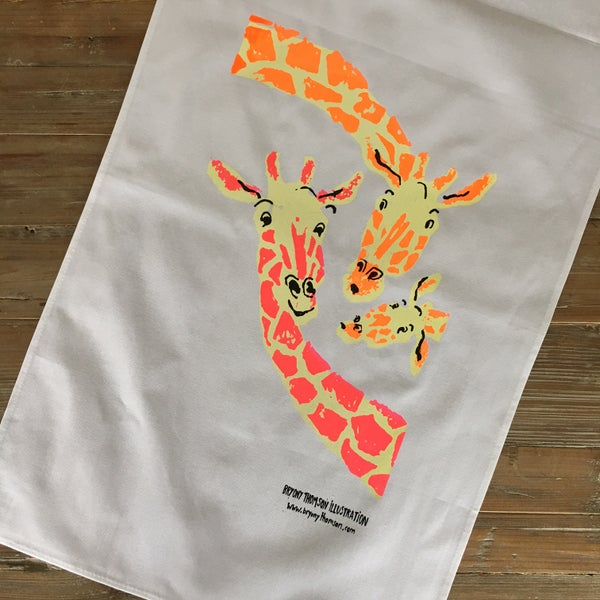 Image of Hand Screenprinted Giraffe Tea-towel