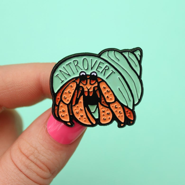 Image of Introvert Hermit Crab enamel pin - lapel pin