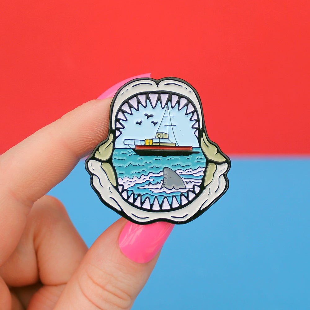 Image of *NEW* Shark mouth enamel pin - teeth / jaws - shark attack - lapel pin badge