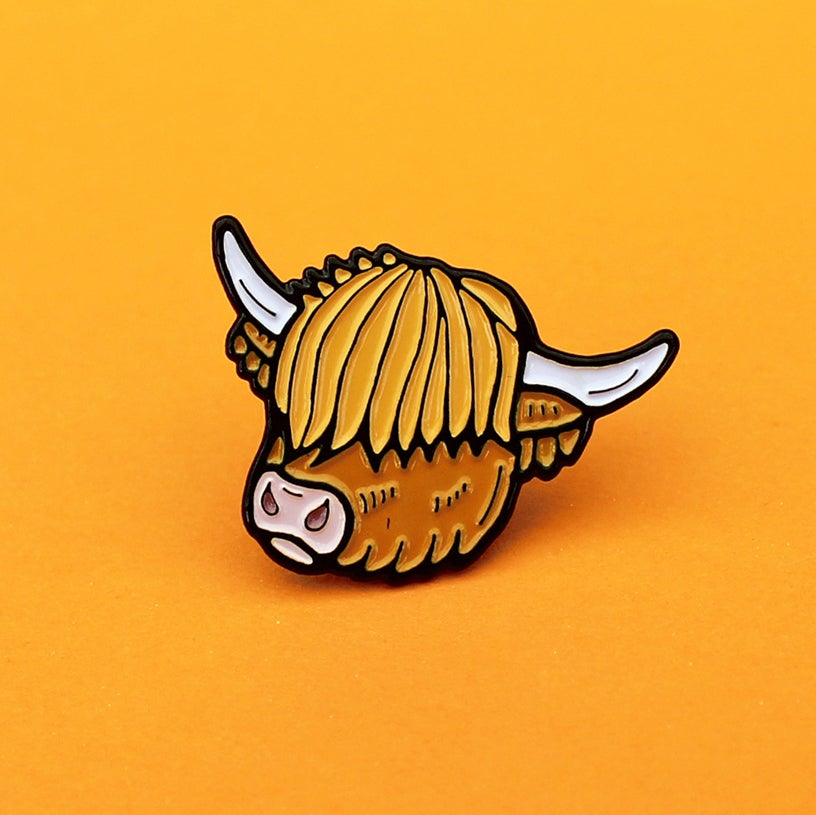 Image of Highland Cow enamel pin - Scottish cattle - ginger - Scotland pin - lapel pin