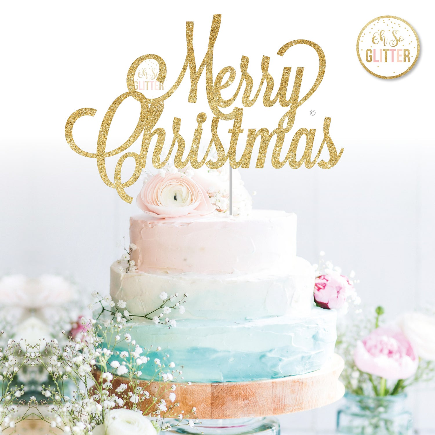 Image of Merry Christmas cake topper