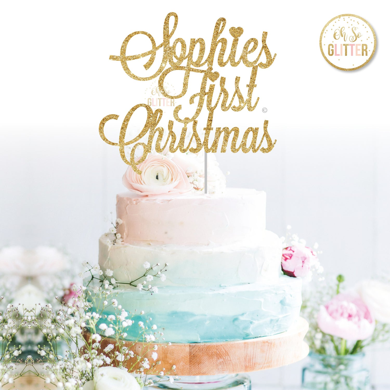 Image of First Christmas Cake topper