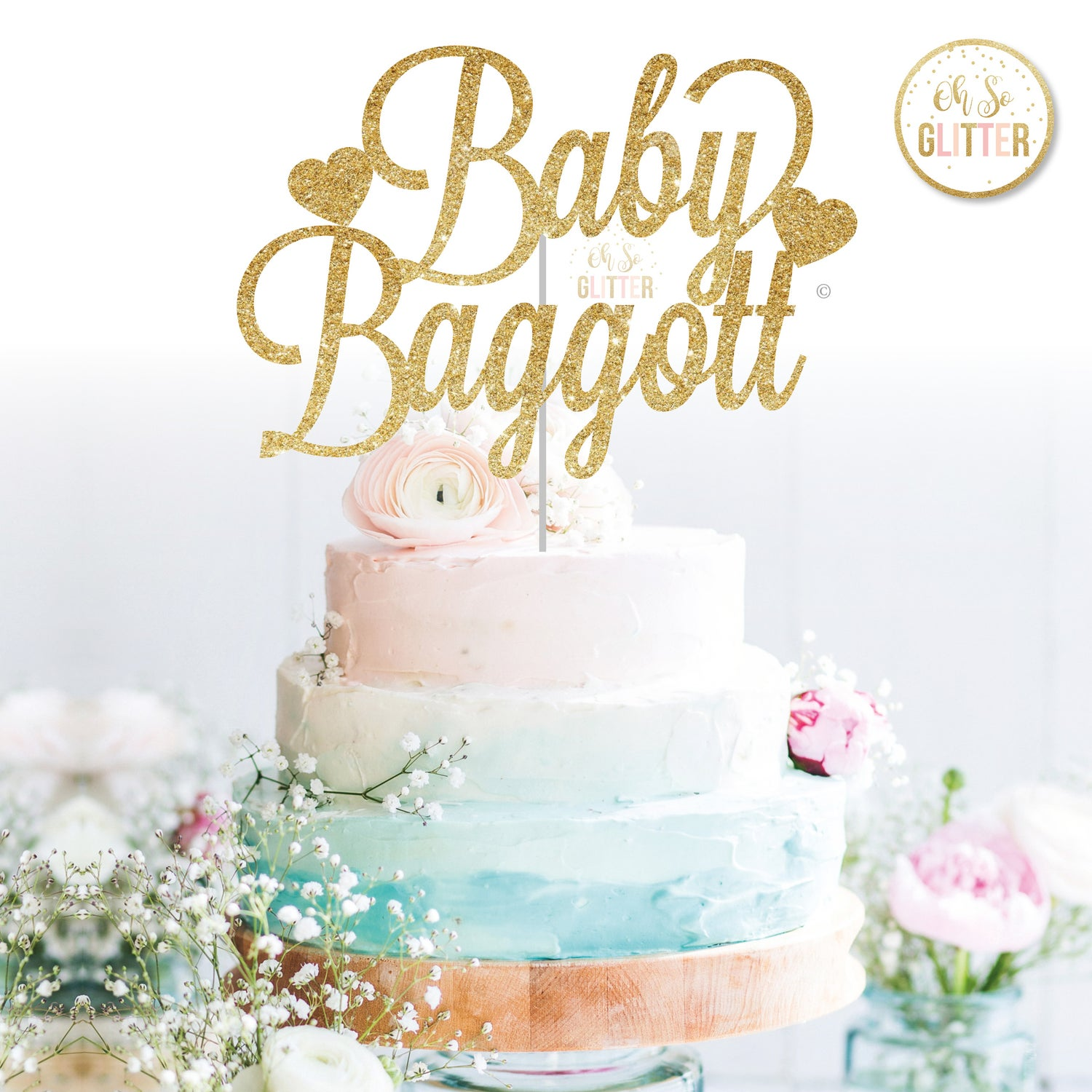 Image of Baby shower - Name cake topper
