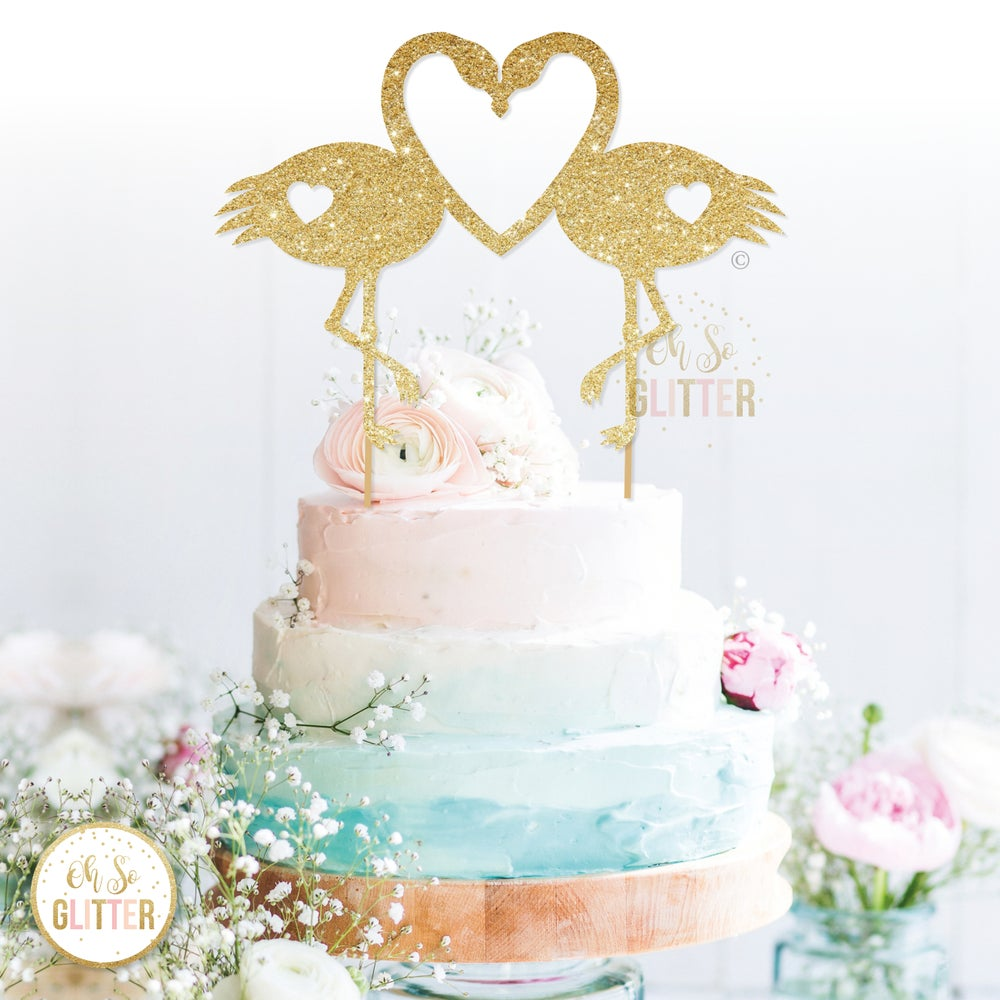 Image of Flamingo Love cake topper