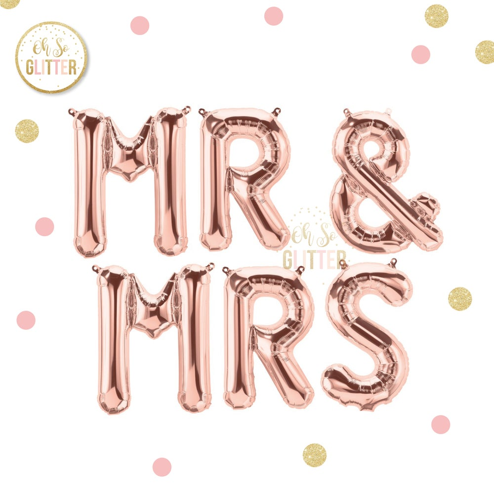 Image of Mr & Mrs Rose Gold Foil Balloons