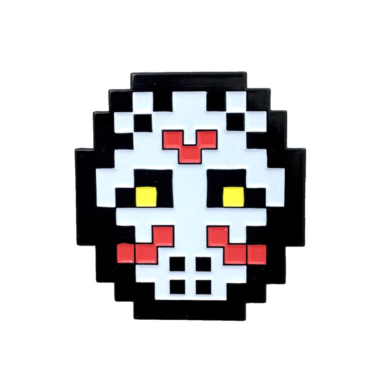 Image of 8-bit Hockey Mask WHITE (Enamel Pin)