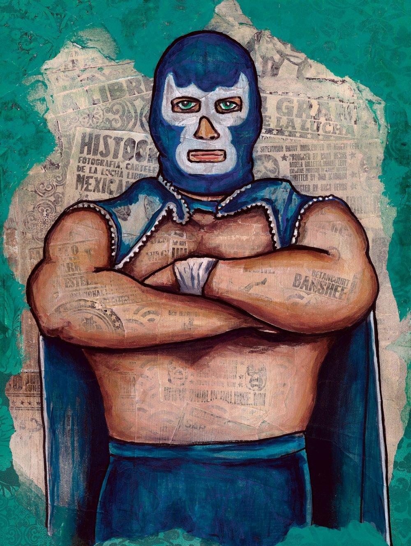 Image of Luchador - Blue Diamond -Fine Art Print
