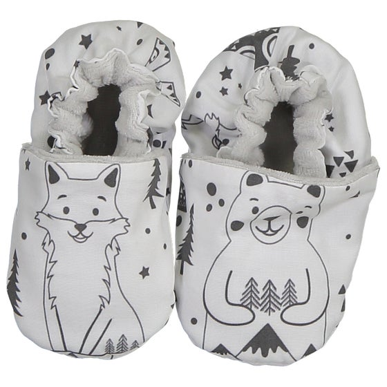 Image of Chaussons souples Fox and Bear N&B