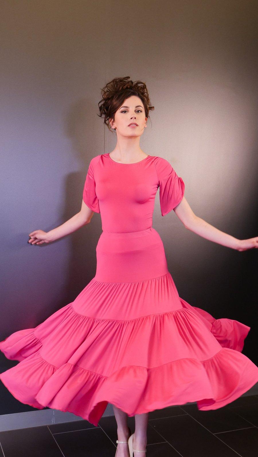 Image of CLOUD SKIRT - Fuschia J3302 Dancewear latin ballroom