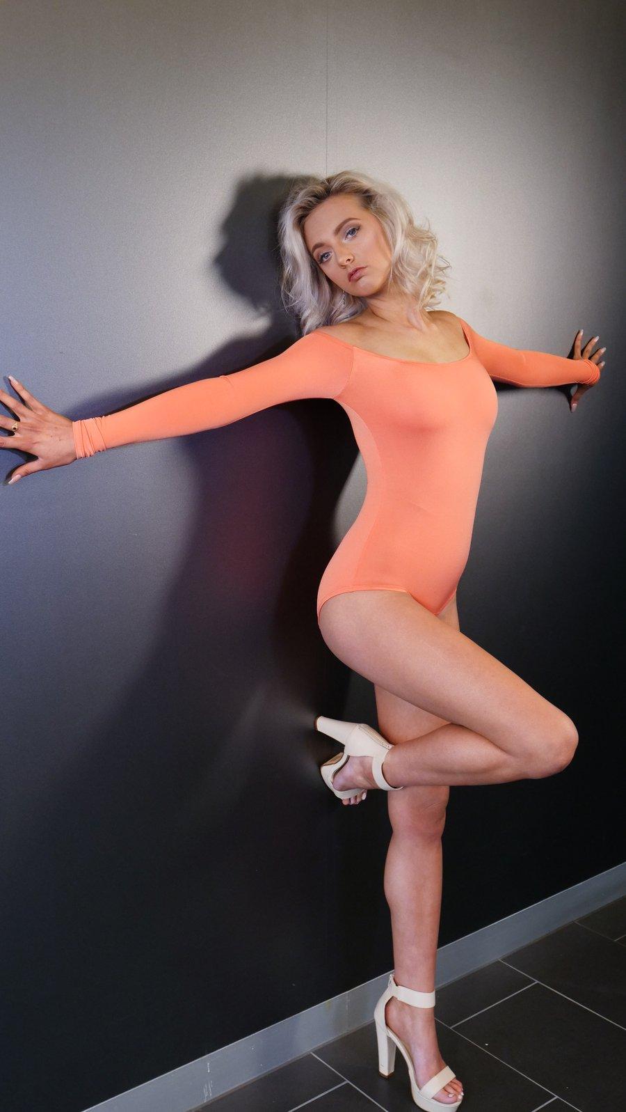 Image of Long Sleeve BodySuit - Orange E1310 Dancewear latin ballroom