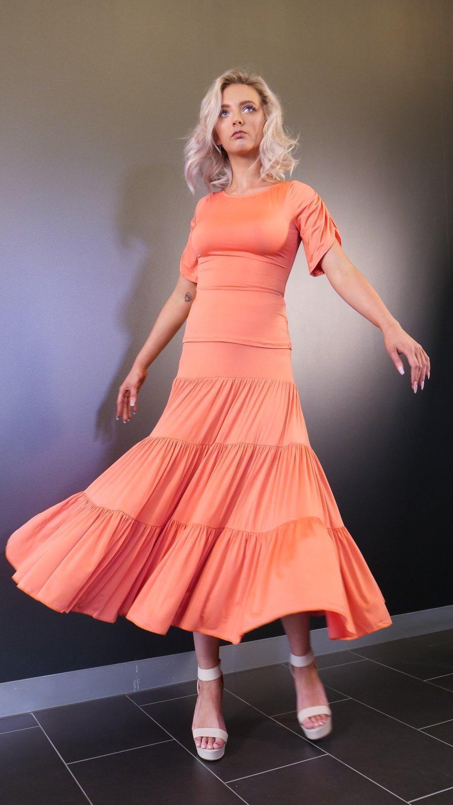 Image of Cloud Skirt - Orange J3302 Dancewear latin ballroom