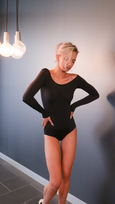 Image of Long Sleeve BodySuit - BLACK E1310