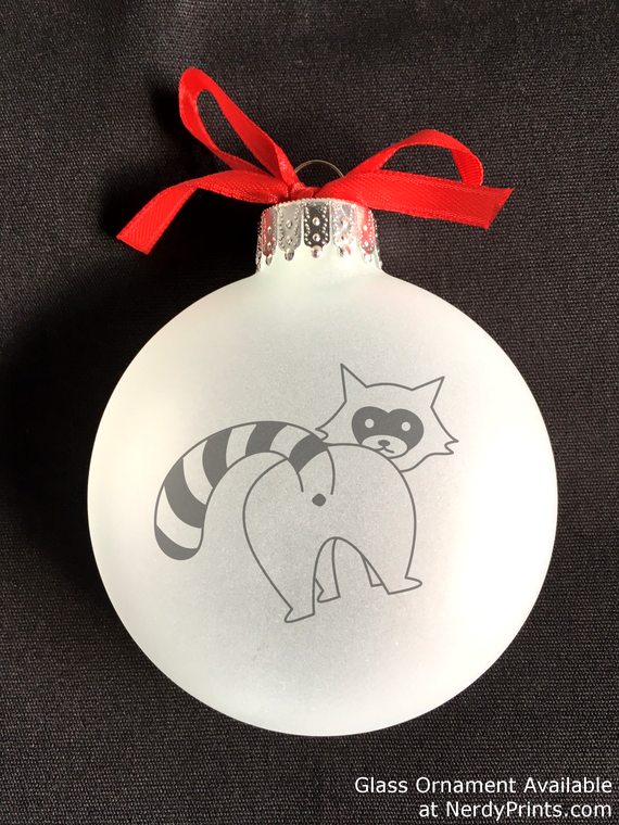 Image of Skunk Butt Glass Christmas Ornament