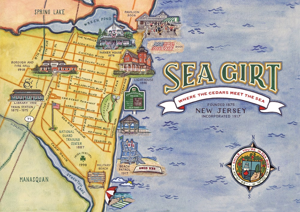 "Image of Sea Girt, NJ Centennial Map  11"" x 17"""
