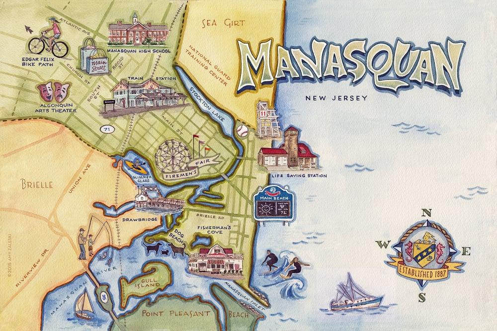 Image of Manasquan, NJ Illustrated Map - ©2019 Amy Zaleski