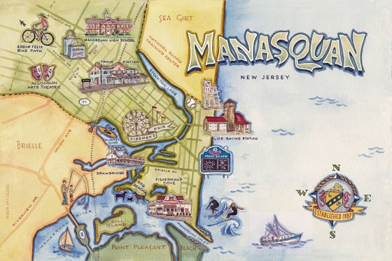 Image of Manasquan, NJ Illustrated Map - ©2019 Amy Zaleski