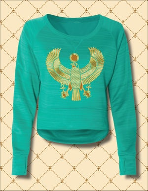 Image of Women's Gold Heru Striped Poly Fleece Hi/Low Sweater