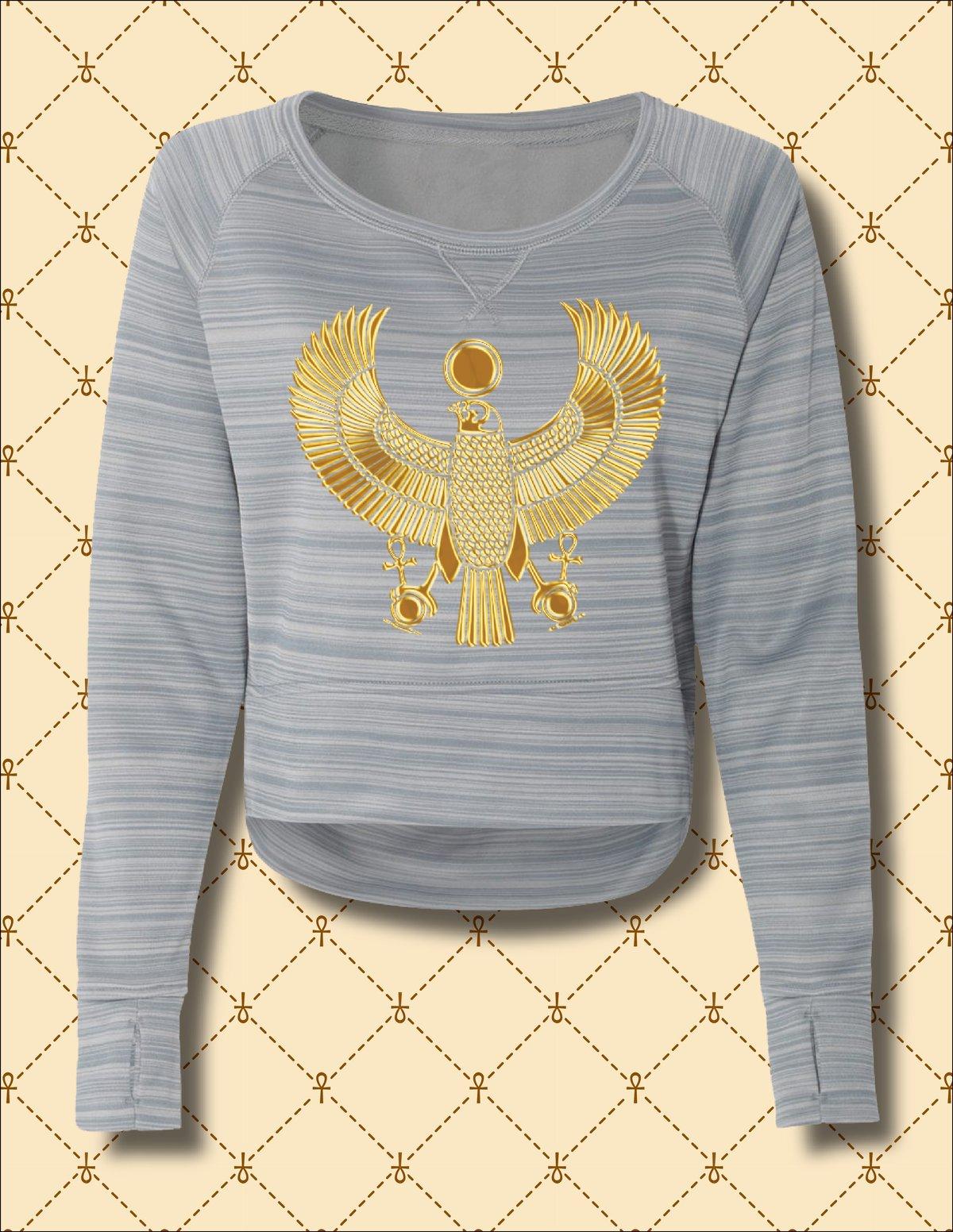 Image of Women's Gold Heru Striped Poly Fleece Hi/Low Sweater