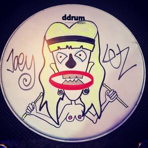 Image of Neutered Nancy custom drum head by Joe Letz