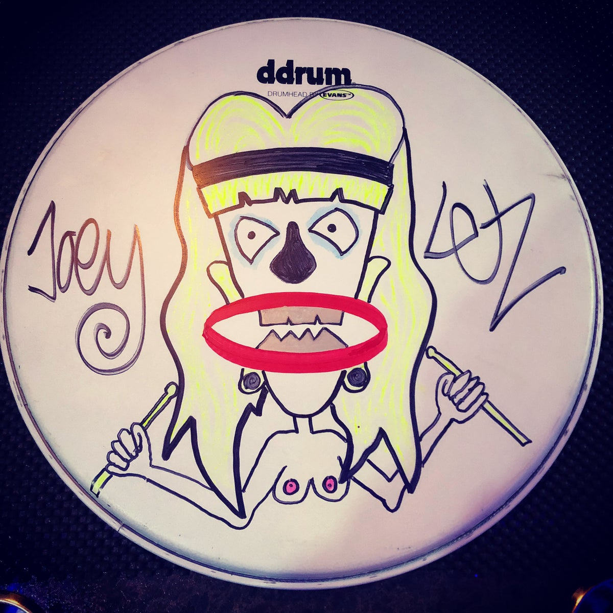 Image of personalized, custom drum head by Joe Letz