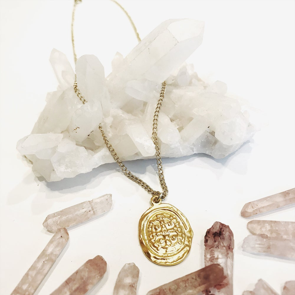 Image of Gold Cross Crest Necklace