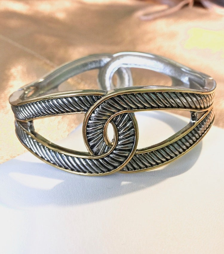 Image of Two-Tone Cable Knot Hinge Bracelet