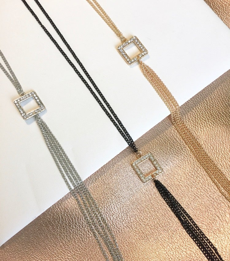 Image of Rhinestone Square Chain Necklace
