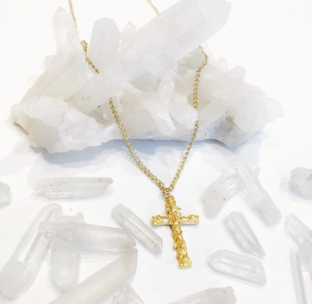Image of Gold Rose Cross Necklace