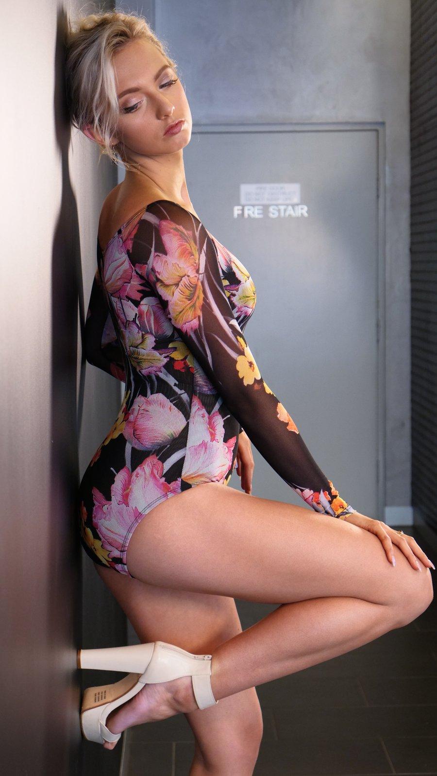 Image of Long Sleeve BodySuit - Floral E10113 Dancewear latin ballroom