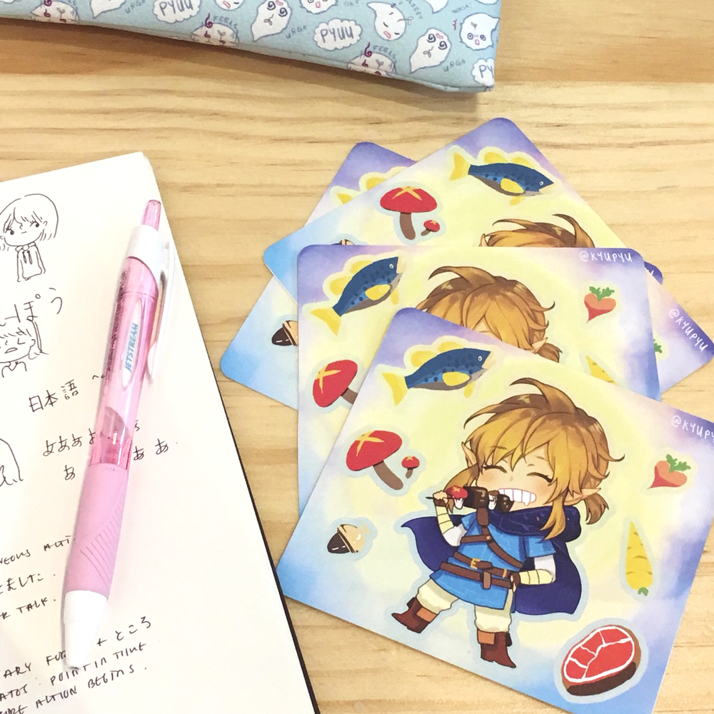 Image of BOTW Link+food sticker sheet