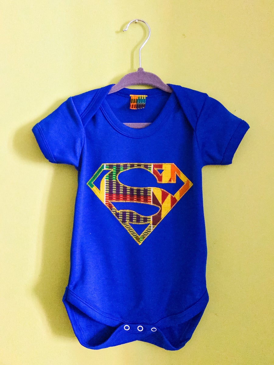 Image of Lil' Z Afro Superman Bodysuit