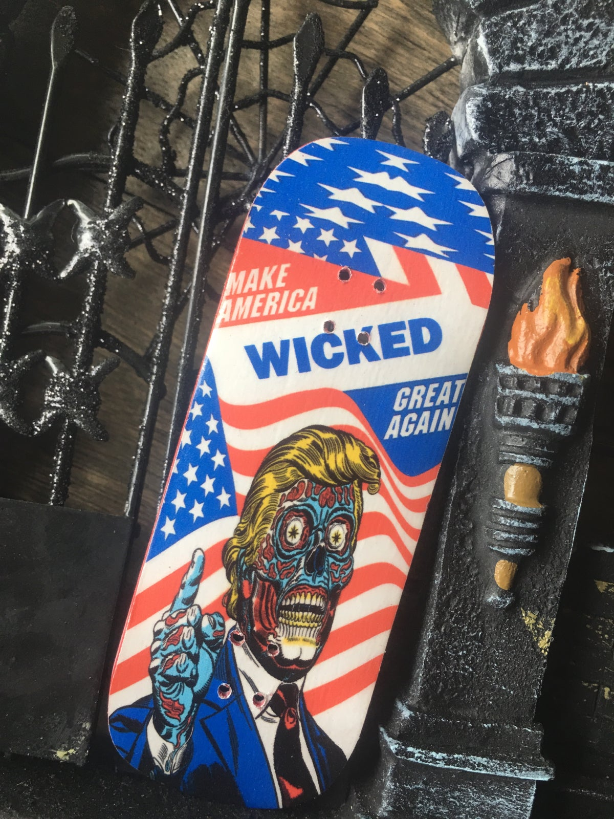 Wicked For President Customizable 34 36mm Fingerboard