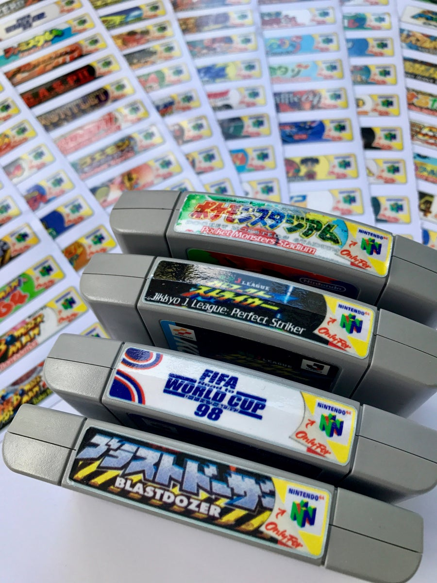 Ingeeknito japan nintendo 64 n64 sticker labels for all 196 custom japan game stickers released in japan