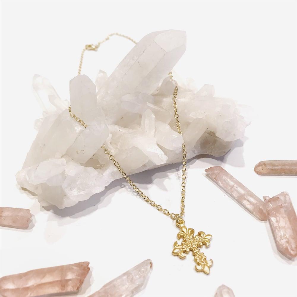 Image of Fleur De Lis Gold Cross