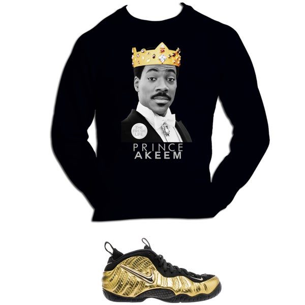 Image of PRINCE AKEEM COMING TO AMERICA GOLD METALLIC FOAMPOSITE SWEATSHIRT - BLACK
