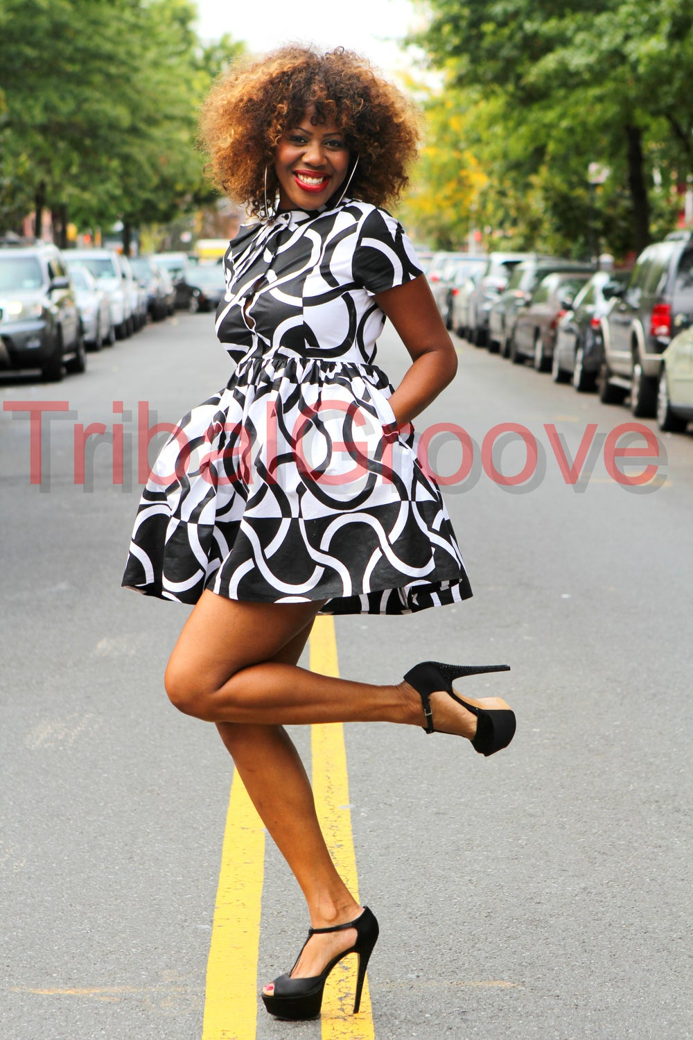 Image of SUSIE - Black and White African Print Mini Dress - Sizes S-XL
