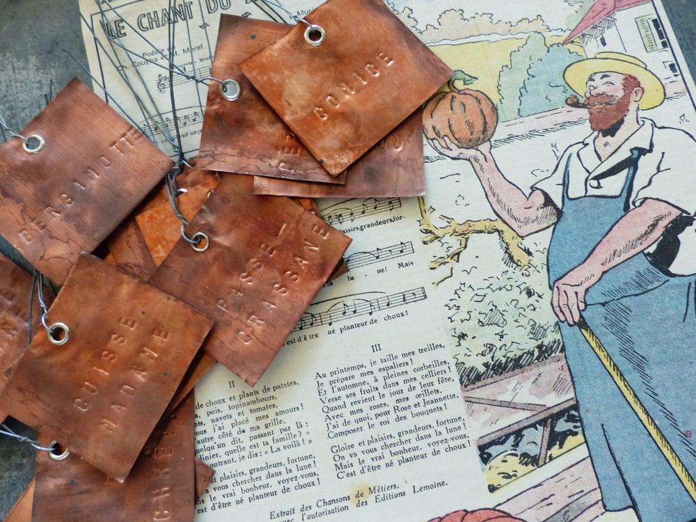 Image of Etiquettes d'arboriculteur en cuivre. Les bonnes poires