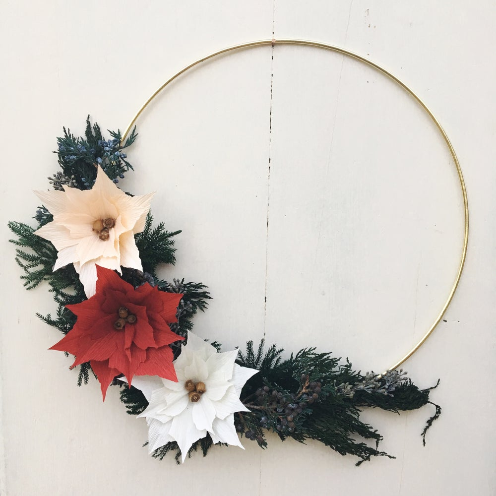 Image of Paper Poinsettia Holiday Wreath