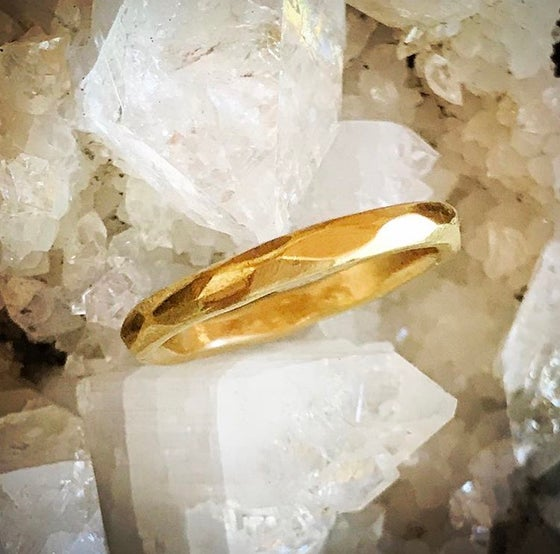 Image of Multi faceted Solid Gold Ring