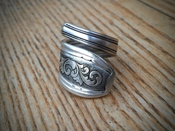 Image of Hand engraved silver plated spoon ring.