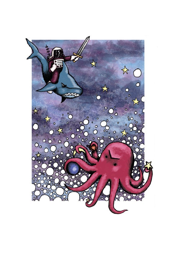 Image of Astronaut on Sharkback vs. Space Octopus