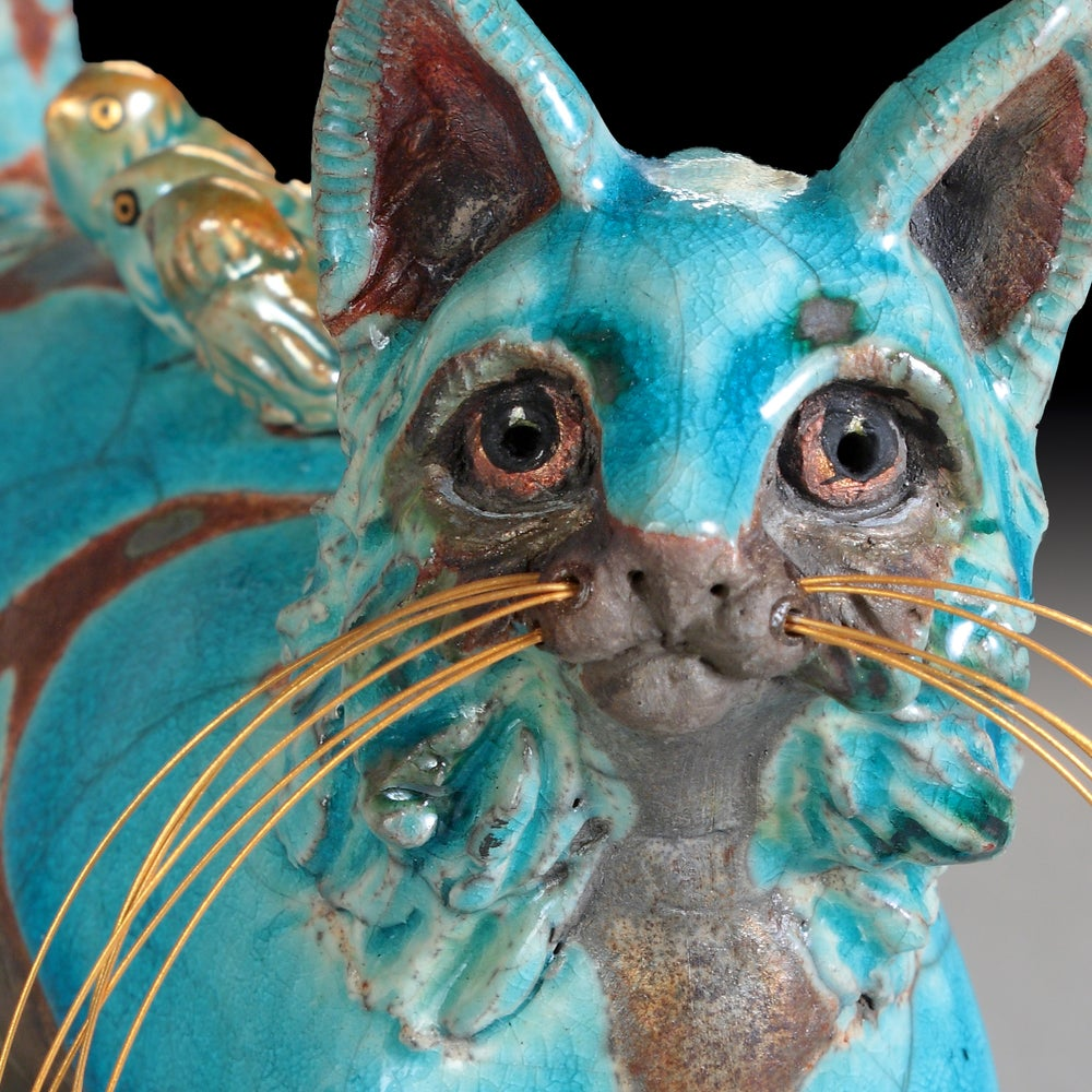 Image of Ceramic Cat Sculptue - Whisker Dimples